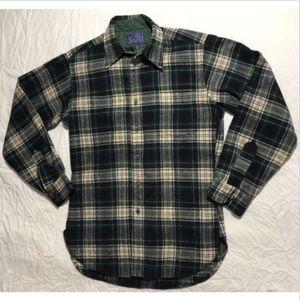 Pendleton Wool Button Plaid Shirt Small